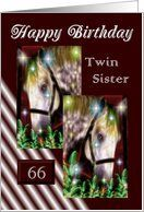 66 - Twin Sister Birthday ~ Gray Horses / Stars / Ferns / Digitally Framed In Brown Border Card by Greeting Card Universe. $3.00. 5 x 7 inch premium quality folded paper greeting card. Birthday greeting cards & photo cards are available at Greeting Card Universe. Make this birthday a memorable one by sending a custom card. Look no further than Greeting Card Universe for your birthday card needs. This paper card includes the following themes: Birthday, Twin Sister, and Age Spe...