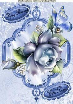 BLUE ROSES BLUE BUTTERFLY A4 on Craftsuprint - Add To Basket !: