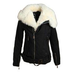 Womens Winter Warm Black Motorcycle Jacket Thick Coat Parka Faux Fur Lapel Condition: Brand New. Color: Black. Material: Cotton Blend. Fur Type: Faux Fur.