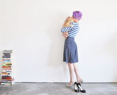 high waist floral skirt . navy blue knee length summer by DOTTO