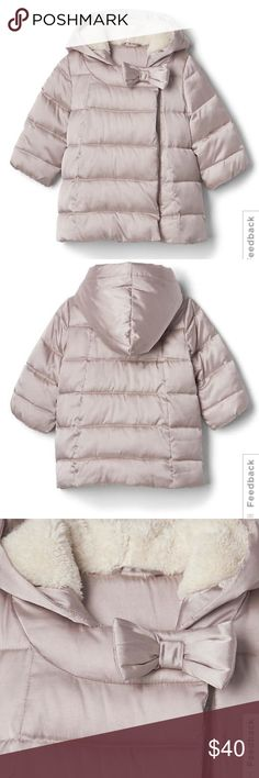 Gap warmest bow coat Gap coat for fur inside. Brand New. Really cute unfortunately this winter was not very cold and my daughter never had a chance to wear it. Jackets & Coats Puffers