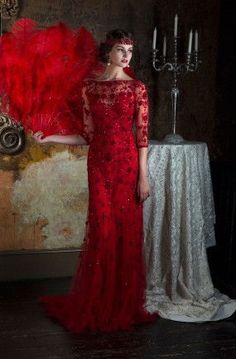 Swap traditional white and get married in stunning scarlet taken from the prohibition era. Dress by Eliza Jane Howell.