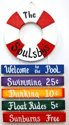 PERSONALIZED Outdoor Pool Sign  Welcome to by UniquelyCraftedSigns, $25.95
