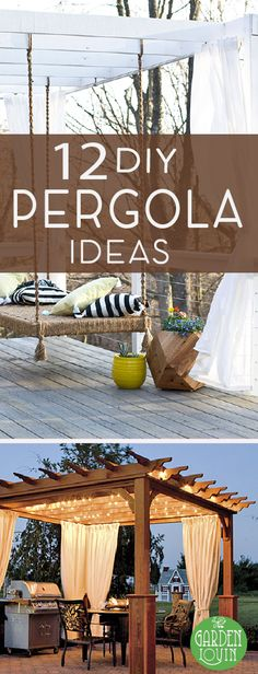 12 DIY Pergolas Tutorials A pergola provides the perfect combination of style and function for a back yard. Make your own pergola this summer! Diy Pergola, Pergola Canopy, Outdoor Pergola, Wooden Pergola, Outdoor Spaces, Outdoor Living, Outdoor Decor, Pergola Lighting, Cheap Pergola