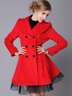 Women's Sweet Lapel Double Breasted Bowknot Lace Wool Pleated Trench Coat - BuyTrends.com