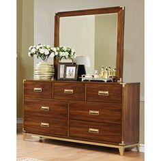 Furniture of America Tamelia Transitional 2piece Dark Oak Gold Accented Dresser and Mirror Set -- Check out the image by visiting the link. (This is an affiliate link) #FurnitureDressersandChestsofDrawers