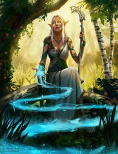 Inspiration of Elves - Elf Priestess by pindurski Roman Fantasy, High Fantasy, Fantasy Rpg, Fantasy Girl, Fantasy Artwork, Fantasy Women, Dungeons And Dragons Characters, Dnd Characters, Fantasy Characters