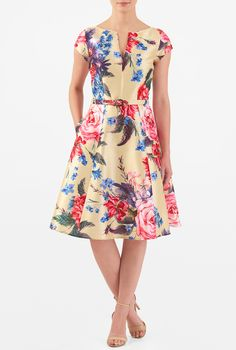Large florals amp up the sweet charm of our polydupioni dress, cut in a flattering fit-and-flare silhouette with a removable self-belt.
