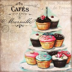 Cupcakes even *I* can't ruin! vintage bakery inspired cupcakes matted print by Everyday is a Holiday Cupcake Kunst, Cupcake Torte, Cupcake Fondant, Rose Cupcake, Cupcake Toppers, Cupcake Ideas, Cupcake Illustration, Illustration Art, Vintage Bakery