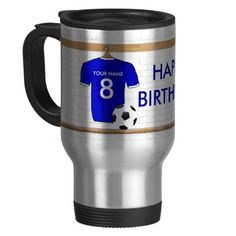 Customizable Soccer Shirt (blue) Birthday Mug