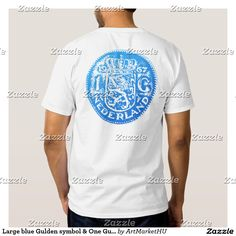 Large blue Gulden symbol & One Gulden back T-shirt. This blue design is available on many coloured T-shirts of different style for men and women – Design by Andras Balogh – andras.design
