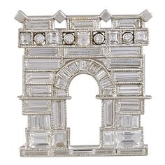 Ghiso Art Deco Baguette Diamond House Brooch | From a unique collection of vintage brooches at https://www.1stdibs.com/jewelry/brooches/brooches/