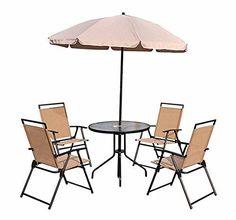 Oferta: 149.99€ Dto: -25%. Comprar Ofertas de Conjunto Muebles Jardin 4 Sillas Mesa de Comedor Redonda y Sombrilla Parasol barato. ¡Mira las ofertas!