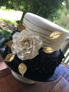 Black white and gold themed 50th Birthday cake