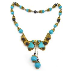 Image of Vintage Art  Image of Vintage Art Deco Czech Blue Glass Front Opening Filigree Bead Necklace