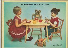 Calendrier vintage almanach des postes PTT 1962 l'heure du gouter complet en bon état vintage france vintagefr vieux papiers de la boutique decobrock sur Etsy