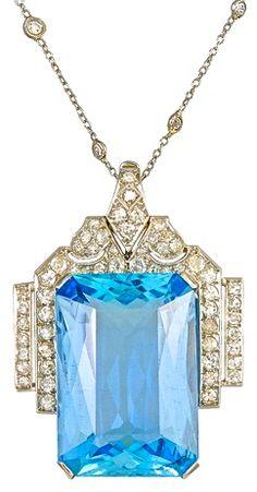Art Deco Large Aquamarine and Diamond Platinum Pendant 1930'