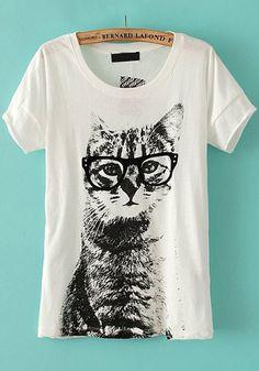 White Animal Round Neck Short Sleeve Blend T-Shirt