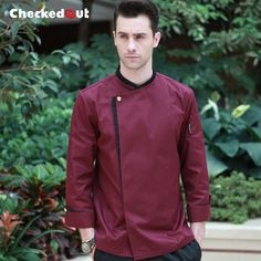 New arrival winter food service restaurant quality long sleeve washable burgundy chef uniform cook jacket