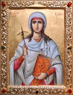 Nina of Georgia Byzantine Icons, Byzantine Art, Religious Icons, Religious Art, Roman Church, Russian Orthodox, Orthodox Christianity, Catholic Saints, Orthodox Icons