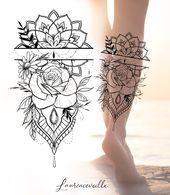 Rose Diamond and Mandala Tattoo Design Tattoo Design - Laurenceveillx - Rose Di.- Rose Diamond and Mandala Tattoo Design Tattoo Design – Laurenceveillx – Rose Diamond and Mandala Tattoo Design Laurence Veillx Mandala Tattoo Design, Geometric Mandala Tattoo, Design Tattoo, Henna Tattoo Designs, Flower Tattoo Designs, Geometric Tattoos, Mandala Tattoo Leg, Paisley Tattoos, Designs Mehndi