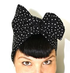 Bow hair tie, Vintage Inspired Head Scarf, Black with POLKA dots,