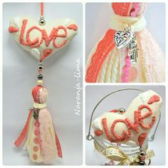Borlas decorativas CORAL con bordado mexicano Diy Tassel, Tassel Jewelry, Chabby Chic, Boho Bags, Felt Fabric, Felt Hearts, Felt Toys, Hippie Style, Sewing Projects
