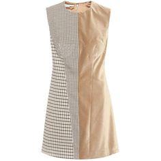 Stella McCartney Velvet Wool-Blend Dress (90.675 RUB) ❤ liked on Polyvore featuring dresses, brown, stella mccartney dress, beige dress, brown dress, stella mccartney and brown velvet dress