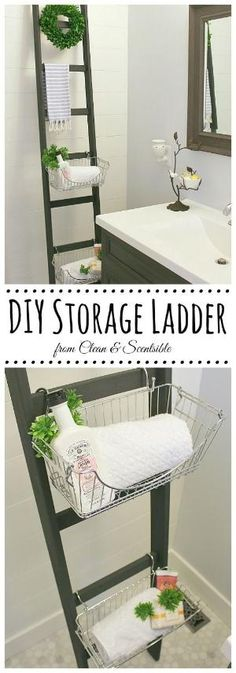 Love the look of this DIY ladder! Such a great way to add some extra storage! // cleanandscentsible.com by elsie