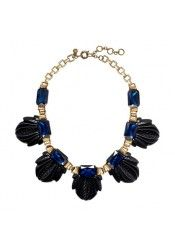 J.CREW FANNED LEAF NECKLACE IN SEAPORT BLUE