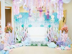 Ocean Lounge from a Majestic Under the Sea Birthday Party on Mermaid Theme Birthday, Little Mermaid Birthday, Little Mermaid Parties, Birthday Party Decorations, Birthday Parties, Ocean Party Decorations, Birthday Ideas, Party Ideas, Baby Shower