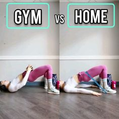 Gym VS Home Modification - Glute Bridge Butt Workout, Gym Workouts, At Home Workouts, Band Workouts, Home Exercise Routines, At Home Workout Plan, Chest Workout Women, Fitness Studio Training, Resistance Workout