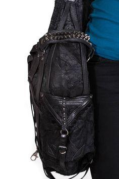RAGE CAGE Black Leather Large Hobo Bag