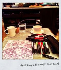 Sketching in the public sphere Maison Kayser.  3rd Ave. & 74th street, NYC  #Redcrossredandwhiteball/SL  Photography by Silvina Leone @ 2014.  All rights reserved.