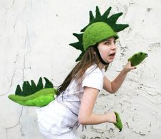 Easy dinosaur hat, tail, claws - great costume alternative for hot weather!!