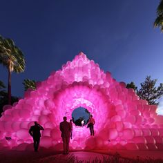 cyril lancelin imagines pyramid pavilion made from bubblegum pink balloons