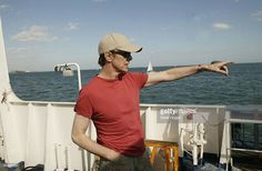 David Bowie travels on the ISLE OF WIGHT FERRY for the third and final day of 'The Nokia Isle of Wight Festival 2004' at Seaclose Park on June 13, 2004 in Newport, Isle of Wight, UK.