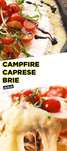 Cheesy Campfire Caprese Brie is so amazing you ll eat it right off the grill Get the recipe at Del Cheesy Campfire Caprese Brie is so amazing you ll eat it right off the grill Get the recipe at Del Van nbsp hellip Cheese brie Cheese Appetizers, Best Appetizers, Appetizer Recipes, Dinner Recipes, Brie Appetizer, Camping Appetizers, Camping Meals, Spanish Appetizers, Camping Friends