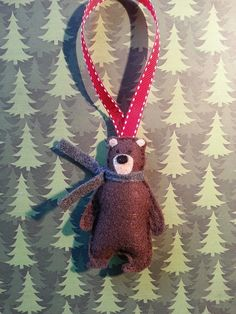 Bear Ornament felt gift tag stocking by ZillyGrilDesigns