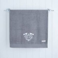 Jan Constantine's Love Birds hand towel is beautifully hand embroidered with the Love Birds motif and homely blanket stitched edge. Grey Hand Towels, Blanket Stitch, Love Birds, Hands, Products, Gadget