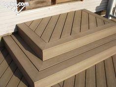 "This is exactly how I want my new deck to look: - no nail heads showing (glued?) - flat front (no overhang of flat board on upright board; tight joint) - frame-styled stairs - beveled joint on stairs & ""frame"" - multi-direction of boards Patio Steps, Front Porch Steps, Outdoor Steps, Front Deck, Back Patio, Backyard Patio, Deck Colors, Deck Pictures, Wooden Steps"