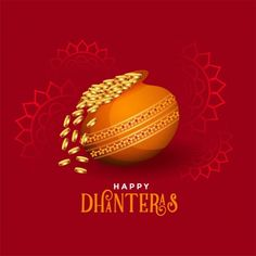 Kalash with golden coins happy dhanteras festival card Free Vector Dhanteras Wishes Images, Happy Dhanteras Wishes, Diwali Wishes, Diwali Greetings, Happy Diwali Status, Happy Diwali 2019, Whatsapp Dp