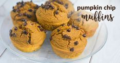 These Pumpkin Chip Muffins are a delicious THM:E snack or dessert! Low fat, sugar free, gluten/dairy/nut free - and no special ingredients needed!