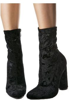 Breakin' hearts in these crushed velvet booties. Round chunky heel and inside zipper. Can't go wrong with these boots 4 inch heel 8.5 inch total height