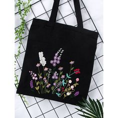 Embroidery Kit Canvas Bag,Modern Flower Pattern Hand Embroidery Kit,Beginner Can… Diy Embroidery Kit, Hand Embroidery Flowers, Hand Embroidery Patterns, Bag Patterns, Embroidery Designs, Flower Bag, Cross Stitch Fabric, Canvas Tote Bags, Canvas Canvas