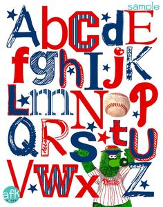 ROOT FOR YOUR TEAM WITH THIS CUTE PHILADELPHIA PHILLIES ABC NURSERY ART PRINT FEATURING THE FAN FAVE THE PHANATIC AS THE Y!    Perfect for the