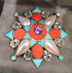 Coral and turquoise Tony Duquette brooch