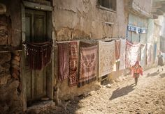 kilims hanging in the Ulus neighborhood of Ankara, Turkey