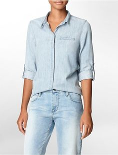 $69, Calvin Klein Chambray Button Front Roll Up Sleeve Top Shirt. Sold by eBay Designer Collective. Click for more info: https://lookastic.com/women/shop_items/154873/redirect