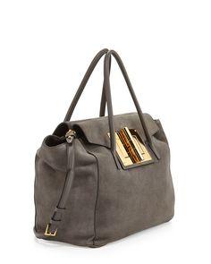 07fa8e534d457 Natalia Soft Suede Turn-Lock Tote Bag